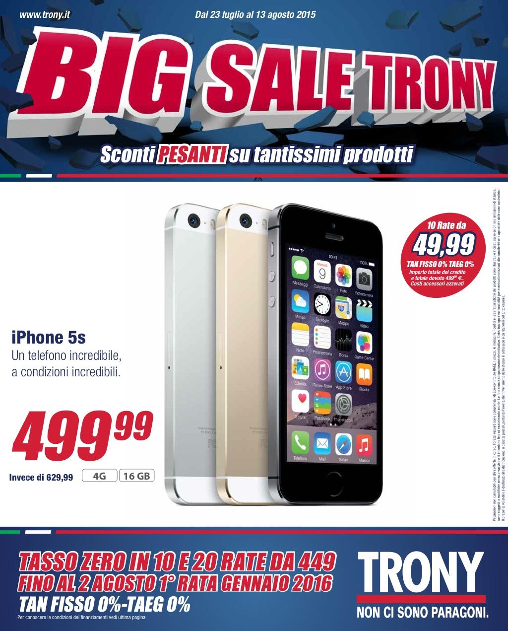 Volantino trony big sale trony dal 23 luglio al 13 for Promozioni amazon