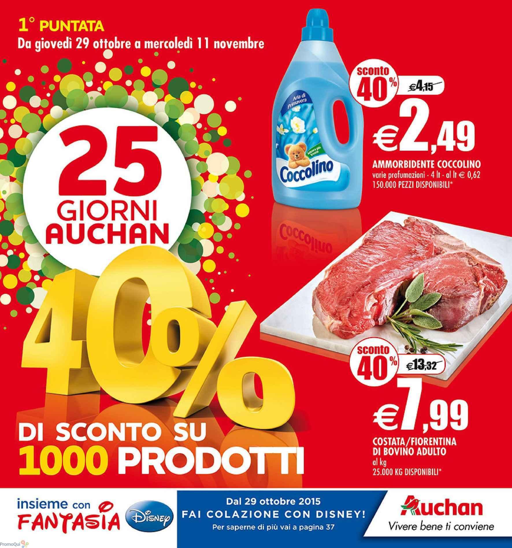Volantino auchan 25 giorni 40 di sconto su 1000 prodotti - Auchan porta di roma offerte ...