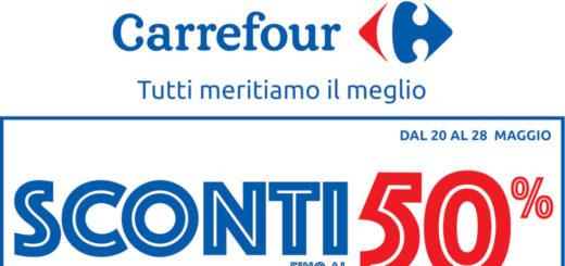 """8eb8b4f832 Volantino Carrefour """"Sconti fino al 50%"""" dal 20 al 28 Maggio 2019"""